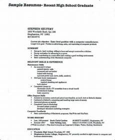 Sample Resumes For High School Graduates Free 8 Sample High School Graduate Resume Templates In Ms