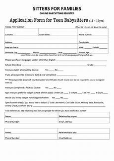 Babysitting Application Form Top Babysitting Application Form Templates Free To