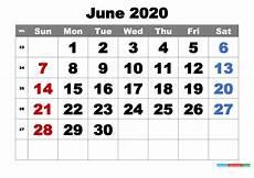 June 2020 Calendar Free Printable June 2020 Calendar Word Pdf Image Free