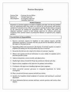 Duties Of A Customer Service Executive Job Description Of Customer Service Officer