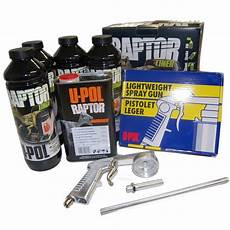 u pol raptor black truck bed liner kit w spray gun upol
