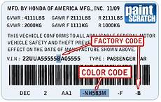 Honda Civic Color Code Chart Honda Touch Up Paint Color Code And Directions For