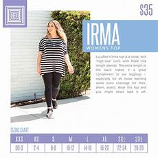 Sizing Chart For Lularoe Irma Lularoe Lularoeirma Lularoesizechart Lularoe Irma