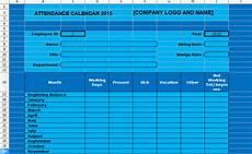 Tracking Calendar Template Employee Attendance Tracking Calendar Template 2015