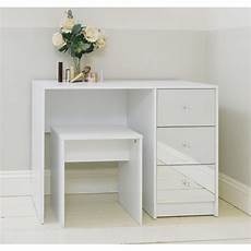 white mirrored three drawer dressing table stool