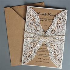 Lace Wedding Invitation Rustic Wedding Invitations Suite Kraft Paper Invitation