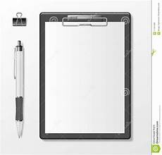 Clipboard Template Black Clipboard With Blank White Paper Sheet And Pen