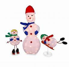Lighted Snowman Family Set Of 3 Tis Your Season 3 Pc Lighted Snowman Family Tinsel