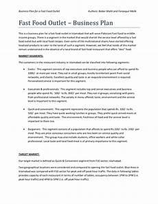 Restaurant Business Plan Examples Business Plan Of Fast Food Restaurant Restaurant