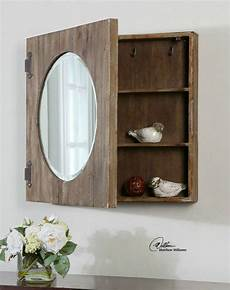 large 24 quot aged wood mirror bathroom medicine cabinet