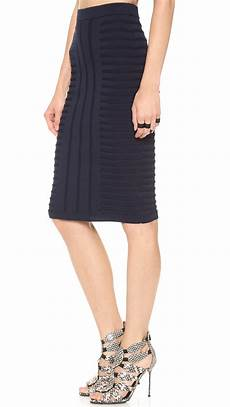 lyst jonathan simkhai embossed stretch knit skirt in blue
