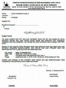 surat undangan peringatan maulid nabi muhammad saw 1439 h