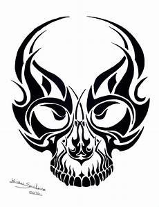Tribal Skull Designs Tribal Skull Ink Design No 2 Skull Poster Etsy