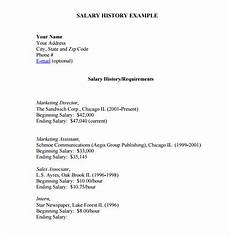 Example Of Salary Salary History Template Business Mentor