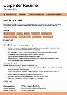 Carpenters Resume Carpenter Resume Sample Amp Writing Tips Resume Genius