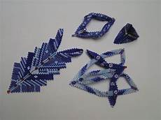 contemporary geometric beadwork in blue sieraden
