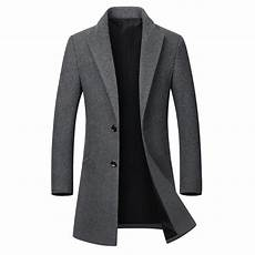 coats slimfit mens business casual woolen trench coat mid single