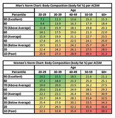 Percentile Ranked Body Fat Percentages By Age Group