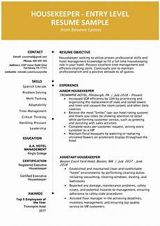Housekeeping Resume Format Entry Level Hotel Housekeeper Resume Sample Resume Genius
