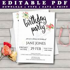 A5 Invitation Template Printable Birthday Invitation Template Watercolour Floral