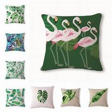 africa tropical plant printed cushion cover green leaves