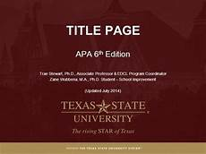 Apa Formatting For Powerpoint Module 2 Title Page Apa Style 6th Ed Authorstream