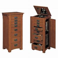 powell mission oak jewelry armoire with mirror 255 the
