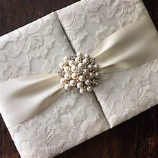 Lace Wedding Invitation Handmade Ivory Pearl Brooch Embellished Lace Wedding