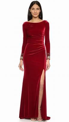 lyst badgley mischka velvet sleeve dress crimson
