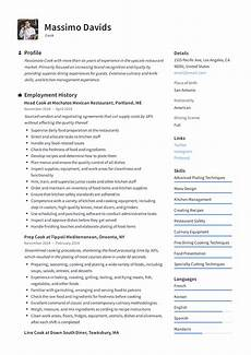 Cook Resume Cook Resume Writing Guide 12 Resume Templates 2019