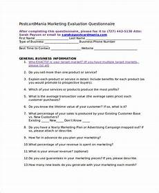 Marketing Plan Questionnaire Evaluation Questionnaire