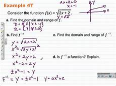 Function Domain Find The Domain Of A Function And Its Inverse Algebra 2