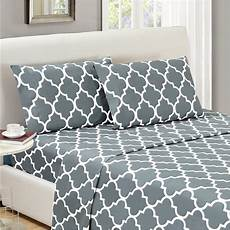 mellanni bed sheet set calking gray brushed microfiber