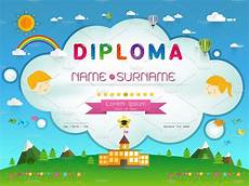 Free Certificate Template For Kids Certificate Kids Diploma Templates Creative Market