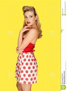 retro fashion model in polka dots stock image image