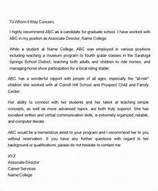 Sample Graduate School Recommendation Letter From Employer Free 45 Sample Letters Of Recommendation For Graduate