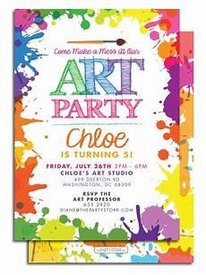 Free Digital Birthday Invitations Art Themed Birthday Party Invitations Free Printable