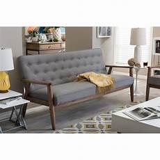 baxton studio sorrento mid century gray fabric upholstered