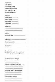 A Blank Resume 46 Blank Resume Templates Doc Pdf Free Amp Premium