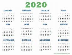 Calendar 2020 For Word Download 2020 Calendar Templates Pdf