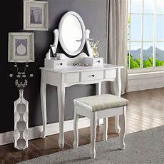 white dressing vanity table makeup dresser with stool oval