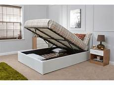 white 4ft 6 pu leather ottoman gas end lift storage bed