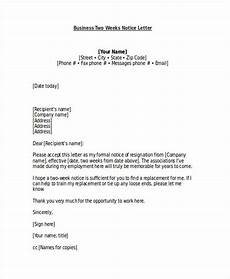 Two Weeks Notice Letter Examples Free 21 Two Weeks Notice Letter Examples Amp Samples In