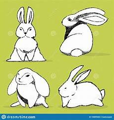 Collection Of Hand Drawn Greetings Words Collection Of Some Cute Rabbits Hand Draw Illustration