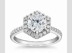Hexagon Diamond Halo Engagement Ring in 14k White Gold
