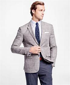 linen sports coats and blazers lyst brothers fit plaid with deco linen