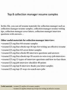 Collection Manager Resume Top 8 Collection Manager Resume Samples
