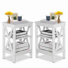 set of 2 white nightstand 3 tier end table beside coffee