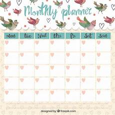 Cute Monthly Planners Cute Monthly Planner With Singing Birds Vector Premium