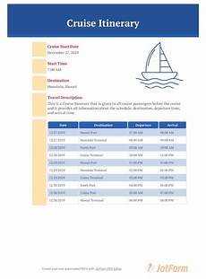Examples Of An Itinerary Cruise Itinerary Template Pdf Templates Jotform